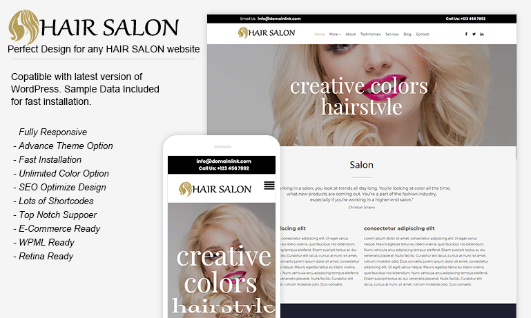 Hair Salon WordPress Theme – HairSalon Pro