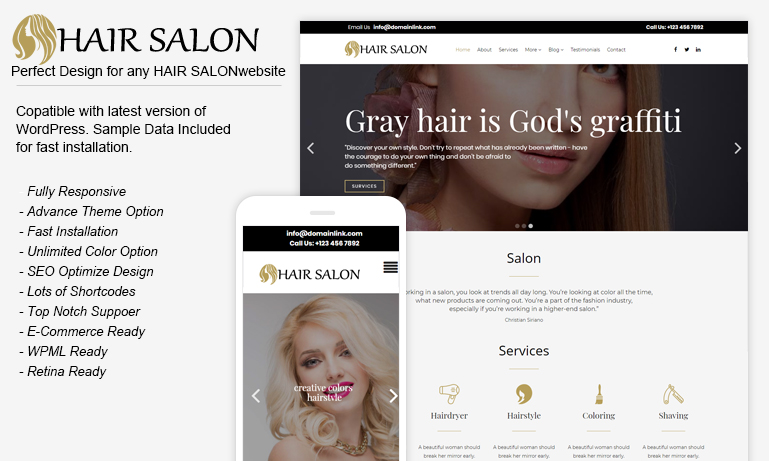 Free Hair Salon WordPress Theme – HairSalon